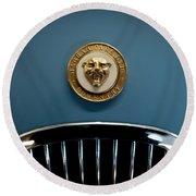 1952 Jaguar Hood Ornament Round Beach Towel by Sebastian Musial