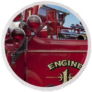 1952 L Model Mack Pumper Fire Truck 2 Round Beach Towel
