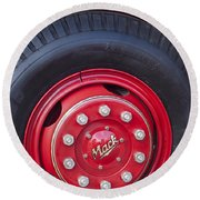 1952 L Model Mack Pumper Fire Truck Wheel 2 Round Beach Towel
