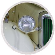 1952 Mg Roadster Headlamp Round Beach Towel