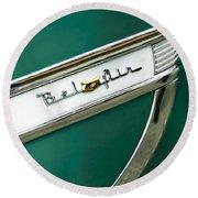 1953 Chevrolet Belair Side Emblem Round Beach Towel