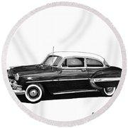 1953 Chevrolet Post 2 Dr Sedan Round Beach Towel