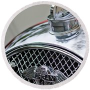 1953 Morgan Plus 4 Le Mans Tt Special Hood Ornament        Round Beach Towel
