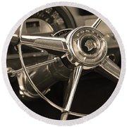 1953 Pontiac Steering Wheel - Sepia Round Beach Towel