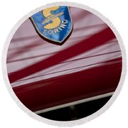 1953 Siata 208s Spyder Emblem Round Beach Towel