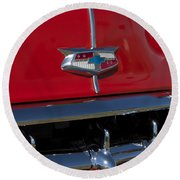 1954 Chevrolet Convertible Hood Emblem Round Beach Towel