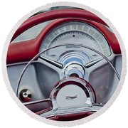 1954 Chevrolet Corvette Steering Wheel Round Beach Towel