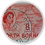 1954 North Borneo Stamp Round Beach Towel