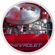 1955 Chevrolet 210 Engine Round Beach Towel