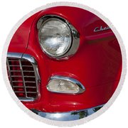 1955 Chevrolet 210 Front End Round Beach Towel
