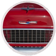 1955 Chevrolet 210 Hood Ornament And Grille Round Beach Towel