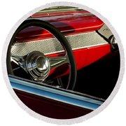 1955 Chevrolet 210 Steering Wheel Round Beach Towel