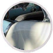 1955 Chevrolet Belair Dashboard 2 Round Beach Towel
