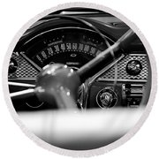 1955 Chevy Bel Air Dashboard In Black And White Round Beach Towel by Sebastian Musial