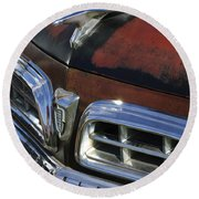 1955 Chrysler Hood Ornament Round Beach Towel