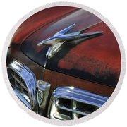 1955 Chrysler Windsor Deluxe Hood Ornament Round Beach Towel