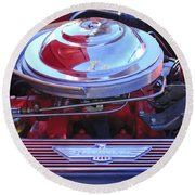 1955 Ford Thunderbird Engine Round Beach Towel