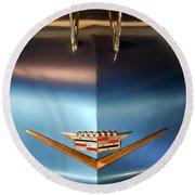 1956 Cadillac Eldorado Biarritz Convertible Hood Ornament And Emblem Round Beach Towel