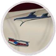 1956 Chevrolet Hood Ornament 5 Round Beach Towel