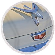 1956 Chrysler Windsor Town And Country  Hood Ornament Round Beach Towel