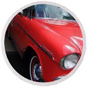 1956 Red And White Chevy Round Beach Towel