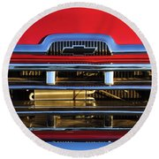 1957 Chevrolet Pickup Truck Grille Emblem Round Beach Towel