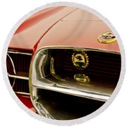 1957 Dual Ghia Convertible Coupe Grille And Hood Emblem Round Beach Towel