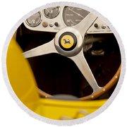 1957 Ferrari 500 Trc Scaglietti Spyder Steering Wheel Round Beach Towel