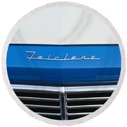 1957 Ford Fairlane Grille Emblem Round Beach Towel