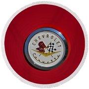 1957 Red Corvette Emblem Round Beach Towel