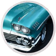 1958 Chevy Belair Front End 01 Round Beach Towel