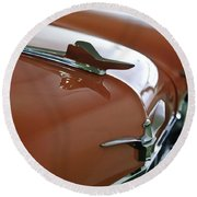 1958 Chrysler Imperial Hood Ornament Round Beach Towel