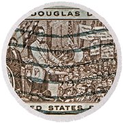 1958 Lincoln-douglas Debates Stamp Round Beach Towel