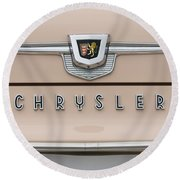 1959 Chrysler New Yorker Emblem Round Beach Towel