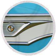 1959 Edsel Corvair Side Emblem Round Beach Towel