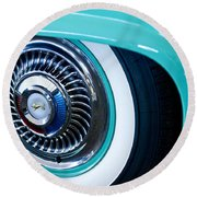 1959 Ford Ranchero Wheel Emblem Round Beach Towel