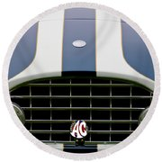 1960 Ac Ace Roadster Grille Emblem Round Beach Towel