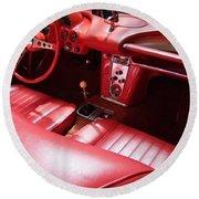1960 Chevrolet Corvette Interior Round Beach Towel