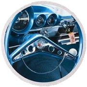 1960 Chevrolet Impala Steering Wheel Round Beach Towel