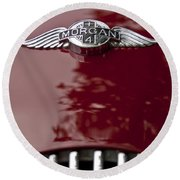 1960 Morgan Plus Four Drophead Coupe Hood Emblem Round Beach Towel