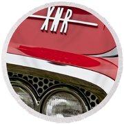 1960 Plymouth Xnr Ghia Roadster Grille Emblem Round Beach Towel
