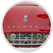 1960 Triumph Tr 3 Grille Emblems Round Beach Towel by Jill Reger