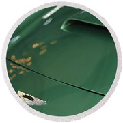 1961 Aston Martin Db4 Series Iv Hood Emblem Round Beach Towel