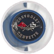 1962 Chevrolet Corvette Emblem 4 Round Beach Towel