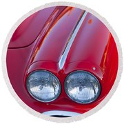 1962 Chevrolet Corvette Headlight Round Beach Towel