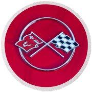 1962 Chevrolet Corvette Hood Emblem 2 Round Beach Towel