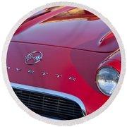 1962 Chevrolet Corvette Hood Round Beach Towel