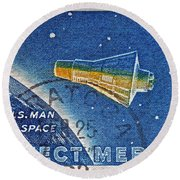 1962 Man In Space Stamp Round Beach Towel