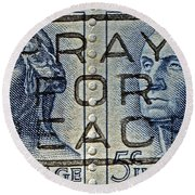 1962 Pray For Peace Stamp Collage Round Beach Towel