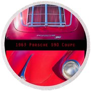 1963 Red Porsche S90 Coupe Poster Round Beach Towel